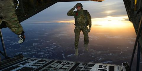 Soldier jumping off plane